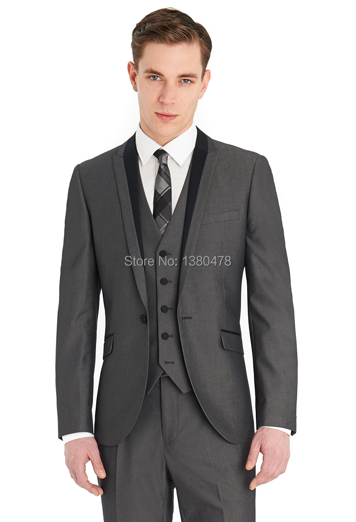 Custom Made Fashion Slim Fit 1 Buttons Grey Groom Tuxedos Notch Lapel Best Man Groomsmen Men Wedding Suits Jacket+Pants+Tie+Vest