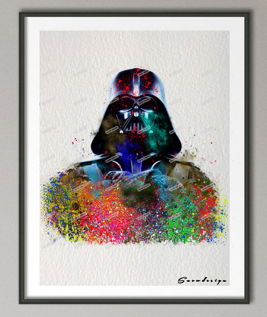 DIY Original Watercolor Darth Vader Print Canvas Painting Wall Art Poster Prints Pictures Living Room Home