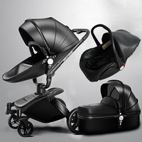 More Gifts!Free Ship! Brand baby stroller 3pcs 3 in 1 baby stroller Leather Pram Eu Car Seat Bassinet newborn car Babyfond AULON