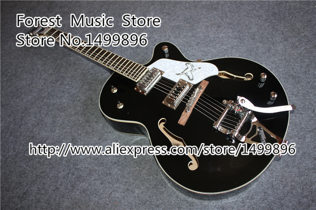 Cheap Glossy Black Falcon G6136 TBK Jazz Electric Guitar With Bigsby From China Factory