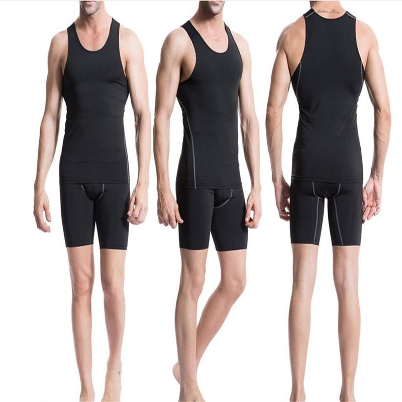 Mens Sleeveless T-shirt Under Compression Armour Base Layer Vest Quick Drying Sportswear Bodybuilding Athletic Tank Tops BLACK
