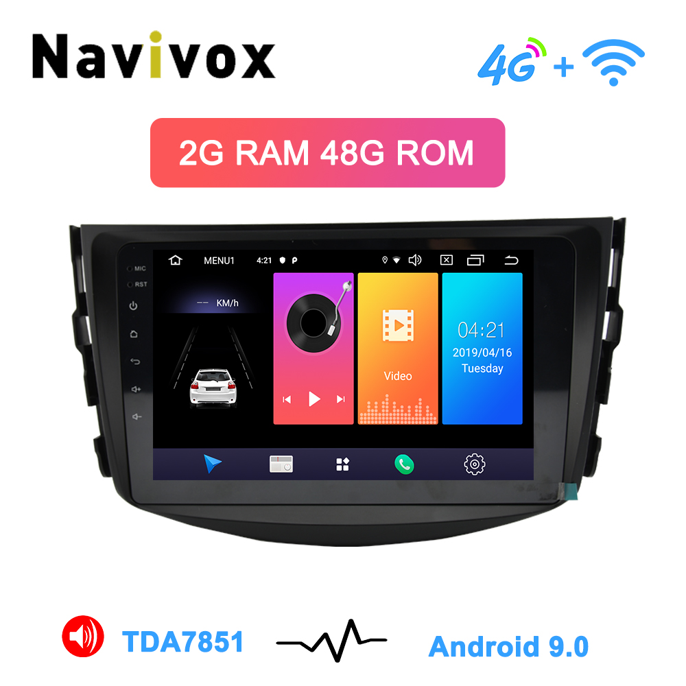 Navivox Android 9.0 lecteur dvd de voiture pour Toyota RAV4 Rav 4 2007 2008 2009 2010 2011 2 din 1024*600 voiture dvd gps wifi rds