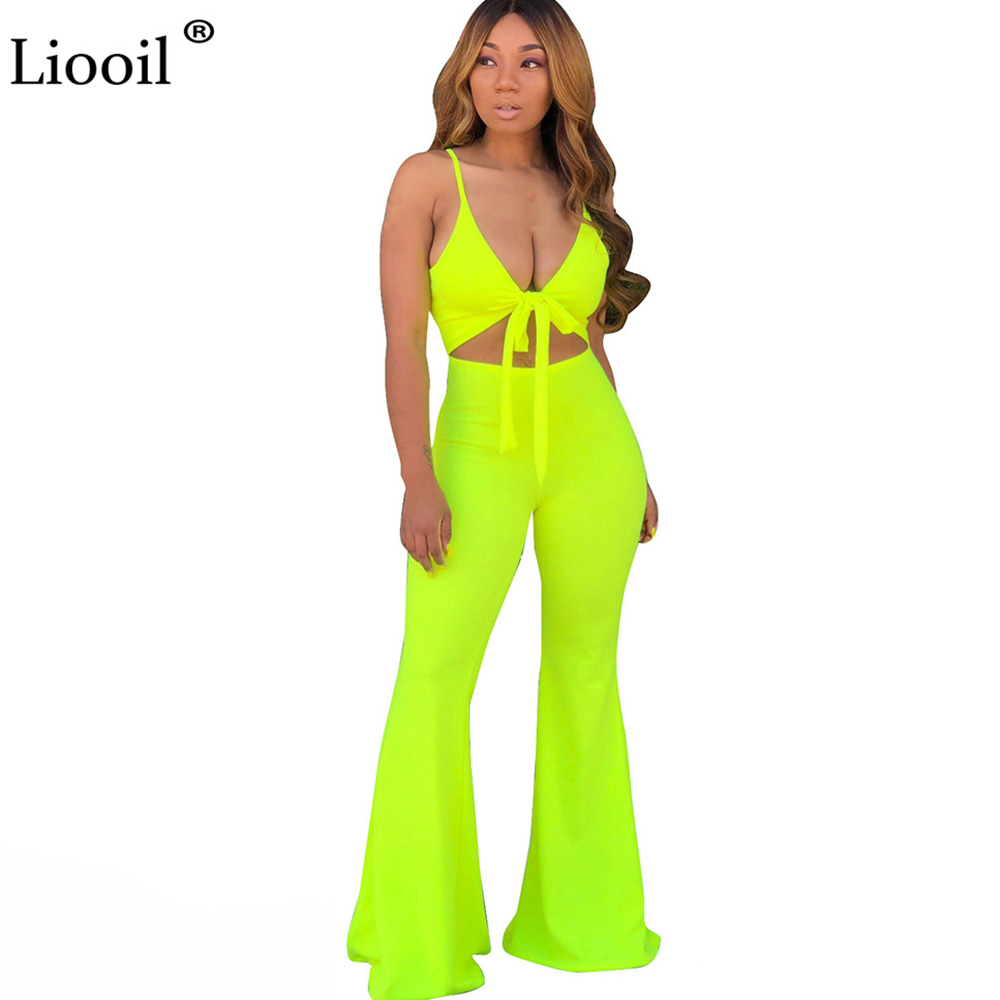 Liooil Neon Green Cut Out One Piece Tight   Jumpsuits   Women Club Wear 2019 V Neck Lace-Up Party   Jumpsuit   Flare Pants Sexy Overalls