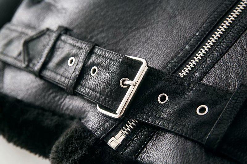 Warm women's winter motorcycle velvet jacket female short 24