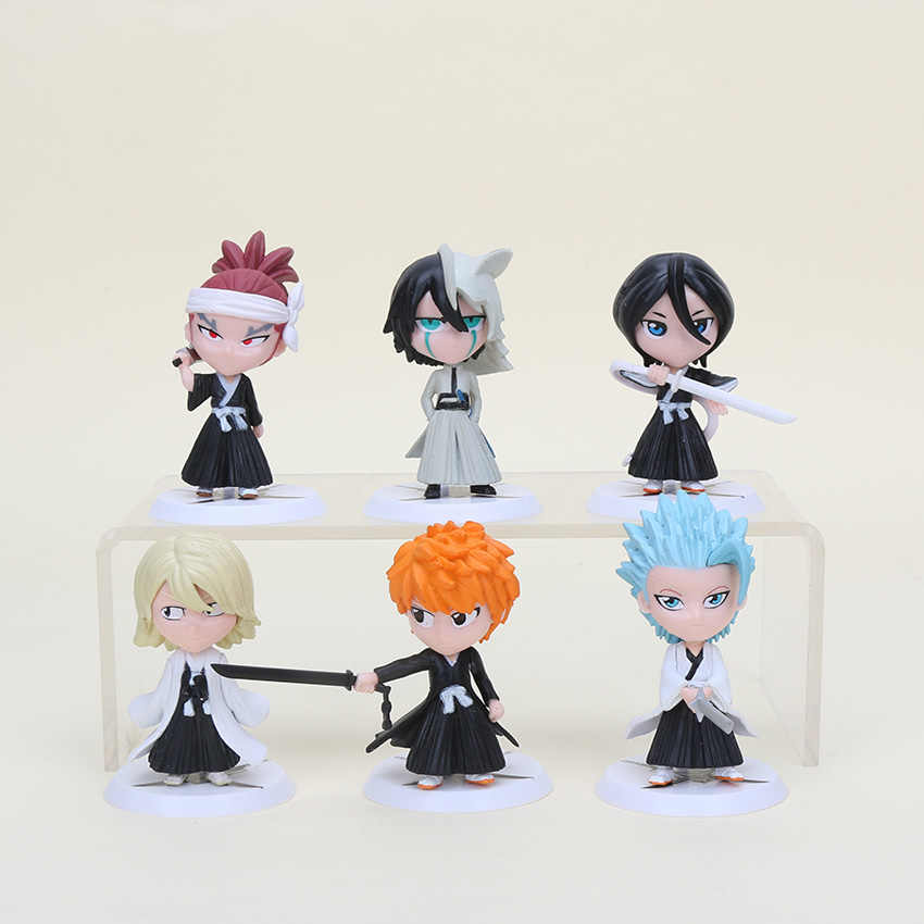 6pc/set Anime Bleach Ichigo Ulquiorra cifer Renji Gin Action Figures PVC brinquedos Collection Figures toys for Birthday gifts