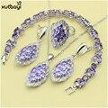 XUTAAYI 925 Silver Jewelry Sets Purple Created Amethyst Pendant/Necklace Chain/Rings/Earrings/Bracelet