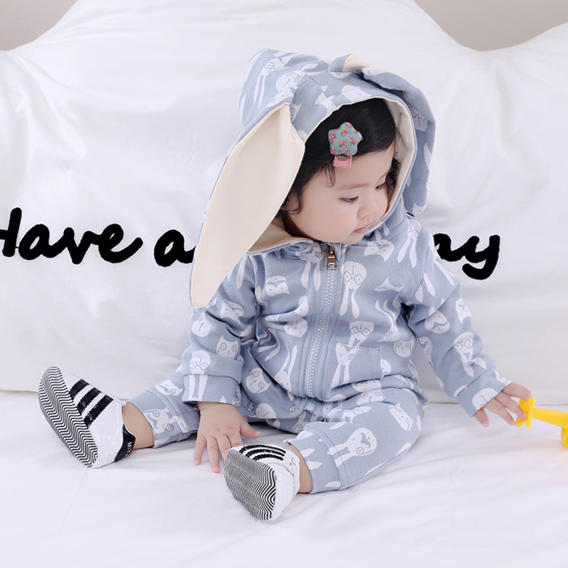 2017 Autumn Newborn Infant Baby Romper Jumpsuit Longsleeve Rabbit Ear 1-piece Toddler Outfits Kids Outerware With Hoody puseky 2017 infant romper baby boys girls jumpsuit newborn bebe clothing hooded toddler baby clothes cute panda romper costumes
