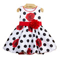 2017 Baby girls dress Black Dot Red Bow infant dress for birthday Baptism Wedding party  princess Frocks floral vestido infantil