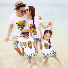 Beach seaside parent-child summer dress home womens short-sleeved printed cotton casual suit family party set