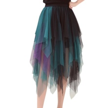 Summer Fashion Elastic High Waist Long Hit Color Tulle Skirt
