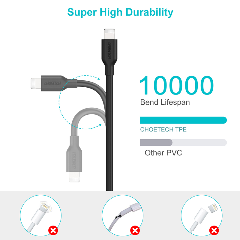 Image 4 - CHOETECH MFi PD Cable USB 2M C to Lightning Cable Fast Charging Syncing Cord Compatible for iPhone X/XS/XR/XS MAX/8/8 Plus iPad-in Mobile Phone Cables from Cellphones & Telecommunications