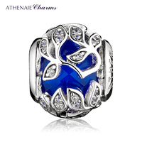 ATHENAIE 925 Sterling Silver Clear and Royal Blue Beads CZ Patterns Of Frost Charm Fit Woman DIY Charms Bracelet & Bangle