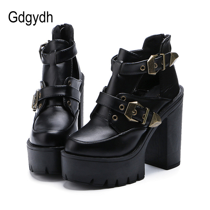 Gdgydh 2017 Spring Autumn Women Pumps Round Toe Platform Thick High Heels Women Shoes Casual Cut-outs Fashion Buckle Size 35-39 new fashion spring autumn women shoes platform high heels buckle strap thick heels pumps lady shoes small big size 31 43 0061