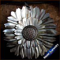 Natural Large Mother of Pearl Sea Shell Carving Gems Beads Pendant Wholesale lot Hand-carved Vintage Art Necklace for Women S005