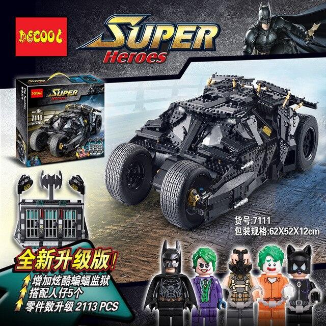 HOT Frete Grátis 2113 pcs 7111 carruagem Batman O Coringa Tumbler Série de Super-heróis blocos de construção de Brinquedo menino Compatíveis Com