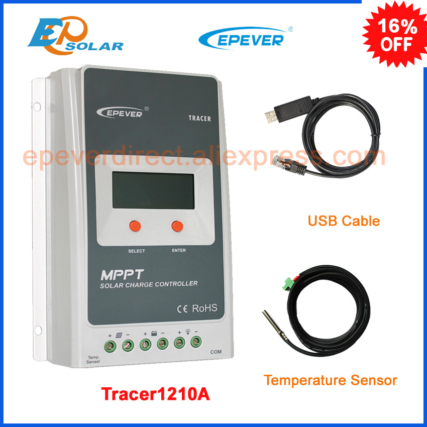 EPEVER EPsolar mppt solar charger controller Tracer1210A with USB cable connect function 10A 10amp lcd display home mppt solar portable controller epsolar 10a 10amp tracer1215bn with mt50 meter and usb pc cable connect software
