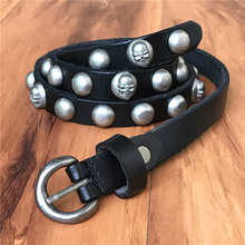 Genuine Leather Metal Skull Belts For Women Ceinture Femme Vintage Punk Rivet Women Belt Thin Cowgirl Belt Female Cinto WBT0076