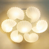 Mediterranean Conch Shell Glass Lampshade Ceiling Lamp for Living Room lamparas de techo abajur led living room ceiling light