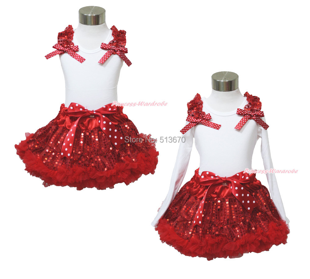 XMAS Plain Ruffle Bow White Top Sparkle Sequins Red Pettiskirt Girl Outfit 1-8Y MAPSA0097 red black 8 layered pettiskirt red sparkle number ruffle red bow tank top mamg575