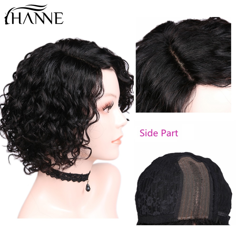 HANNE Hair Short Curly Bob Remy Wigs Brazilian Human Hair L Part Human Hair Wigs Wave Wigs 1B#/30#/99J Color-in Human Hair Lace Wigs from Hair Extensions & Wigs    1