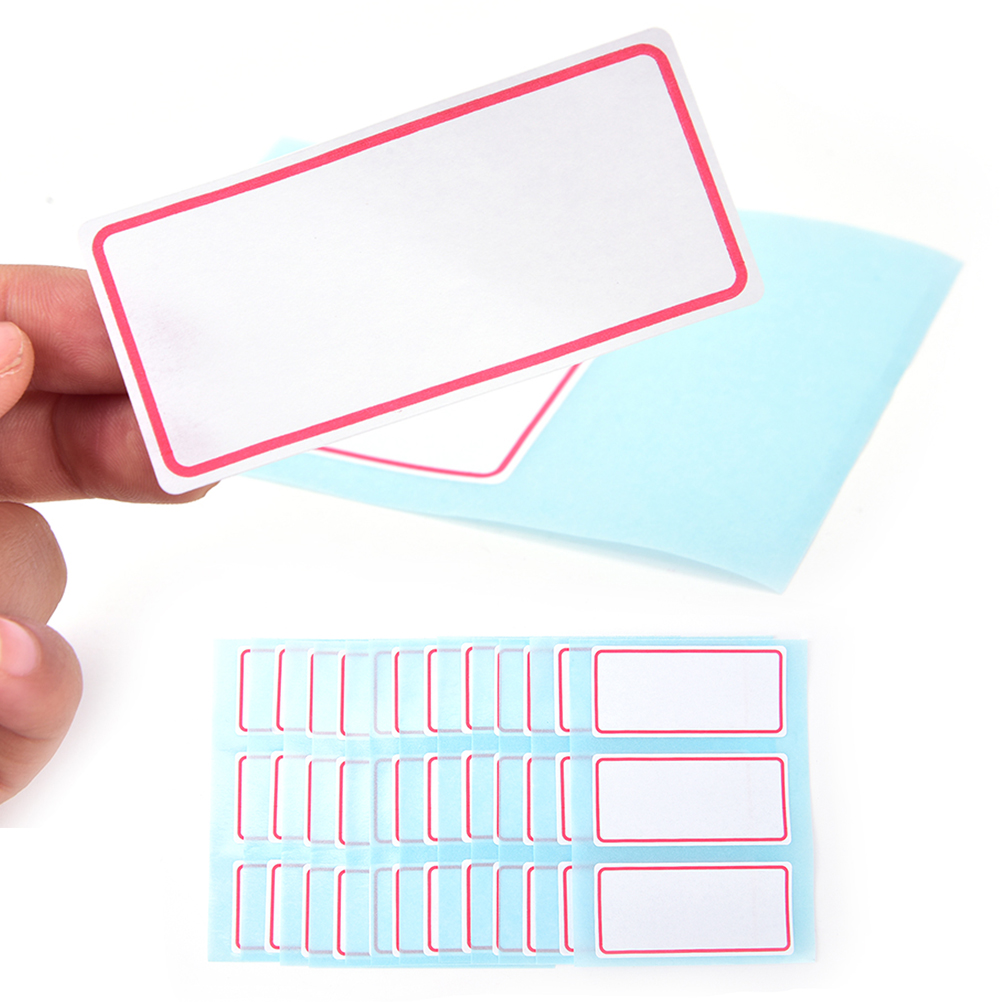 12 Sheets Blank Stickers 34*73mm Self Adhesive Label Blank Note Label Bar Sticky White Writable Name Stickers