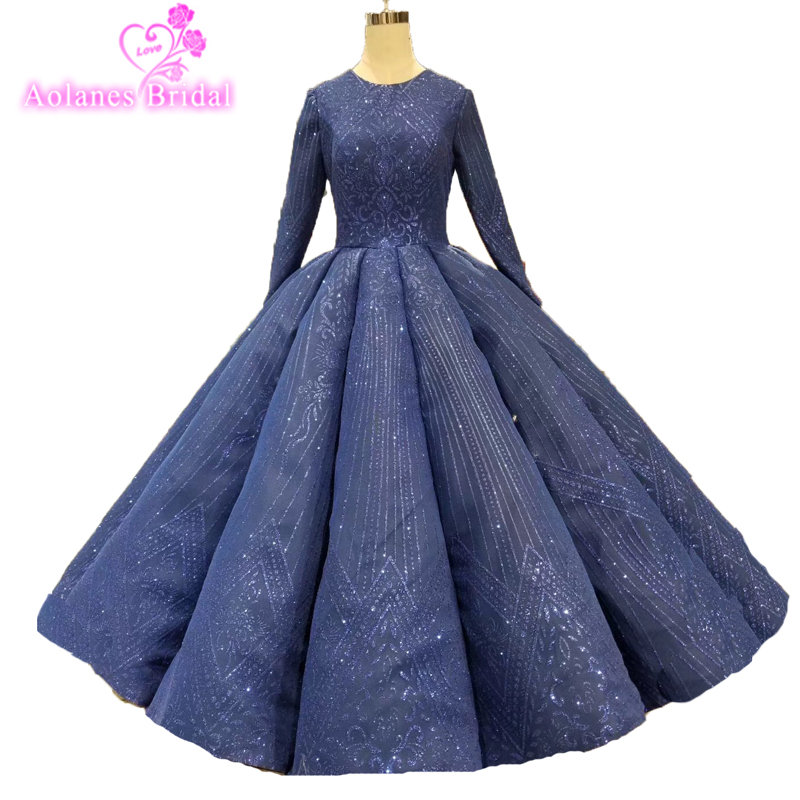 Custom Made Sexy Glitter Navy   Prom     Dresses   Elegant Ball Gown Lace Up Back Long Sleeve Muslim Waves   Prom     Dress   For Evening Party