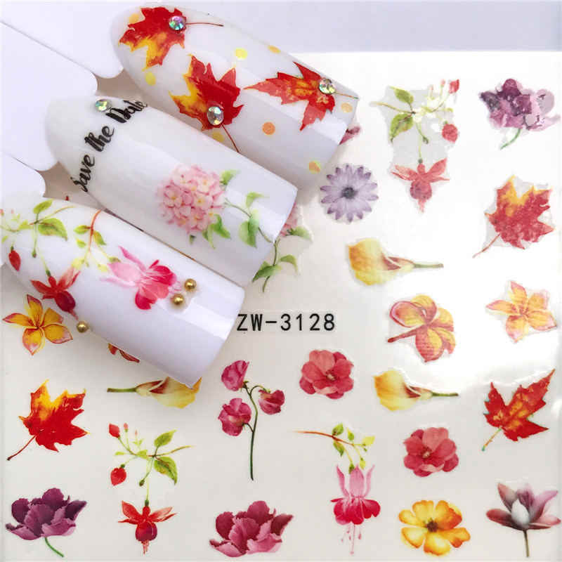 WUF 1 Sheet Lavender / Butterfly / Flower / Bird Claus Styles Nail Art Water Transfer Stickers Colorful Full Tips Designed