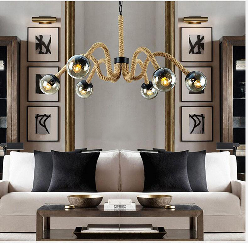 Hemp Rope Pendant Lights Industrial Vintage Personality Art Deco Suspension Lamp Living Room Hotel Light Fitting