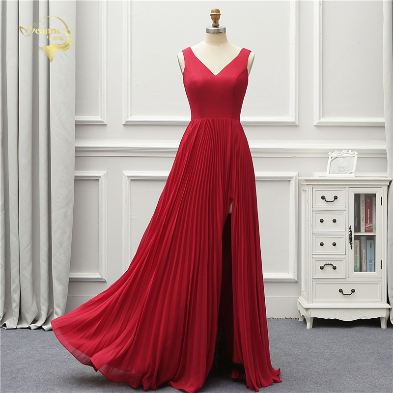 Jeanne Love Formal   Evening     Dress   Simple New Arrival V Neck Open Leg Elegant Party Robe De Soiree Vestido De Festa OL5223 Prom
