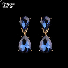 Dvacaman Brand Water Drop Crystal Charm Drop Earrings Women Rhinestone Statement Jewelry Wedding Bridal Accessory Love Gift PP17