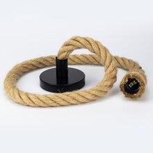 LED Vintage Hemp Rope Pendant Lamp Base AC85-265V E27 Socket Creative Country Style Loft Industrial Light Decorations