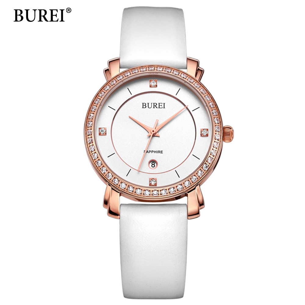BUREI Quartz Watch Ladies Top Fashion Brand Special Design Women Leather Casual Dress Hour Female Waterproof Wrist Watches Hot купить в Москве 2019