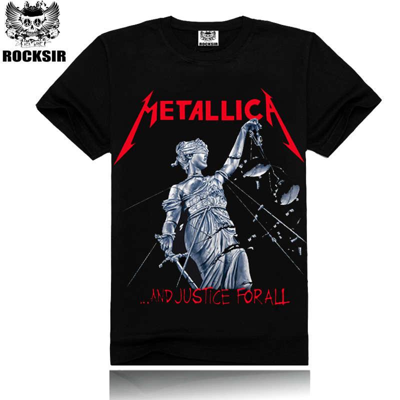 560f81b339 Mężczyzna Metallica Muzyka Moda Czarny Kolor 100% Bawełna T-Shirt Z Krótkim  Rękawem Metallica Top Tees Shirt Sprawiedliwości Dla Wszystkich
