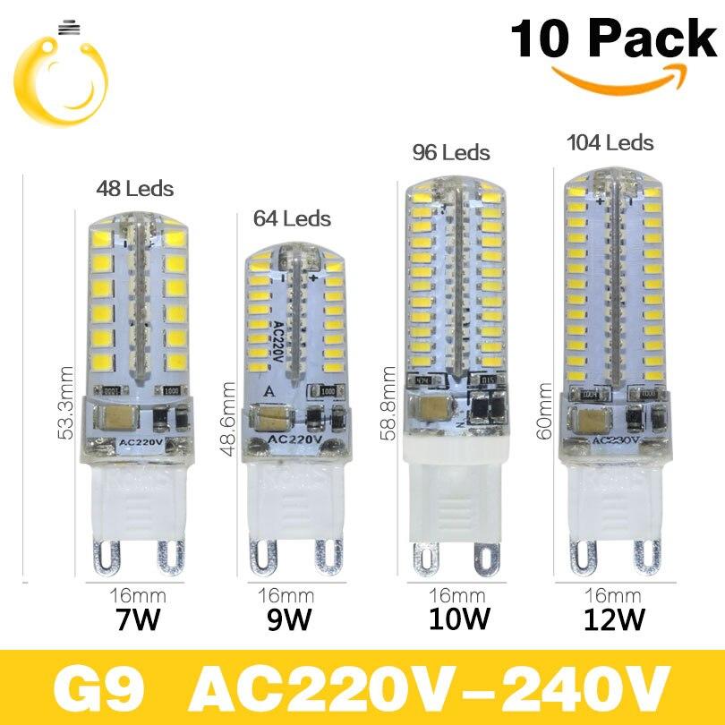 Светодиодные лампы G9, 10 шт./лот, 220 В, 7 Вт, 9 Вт, 10 Вт, 12 Вт