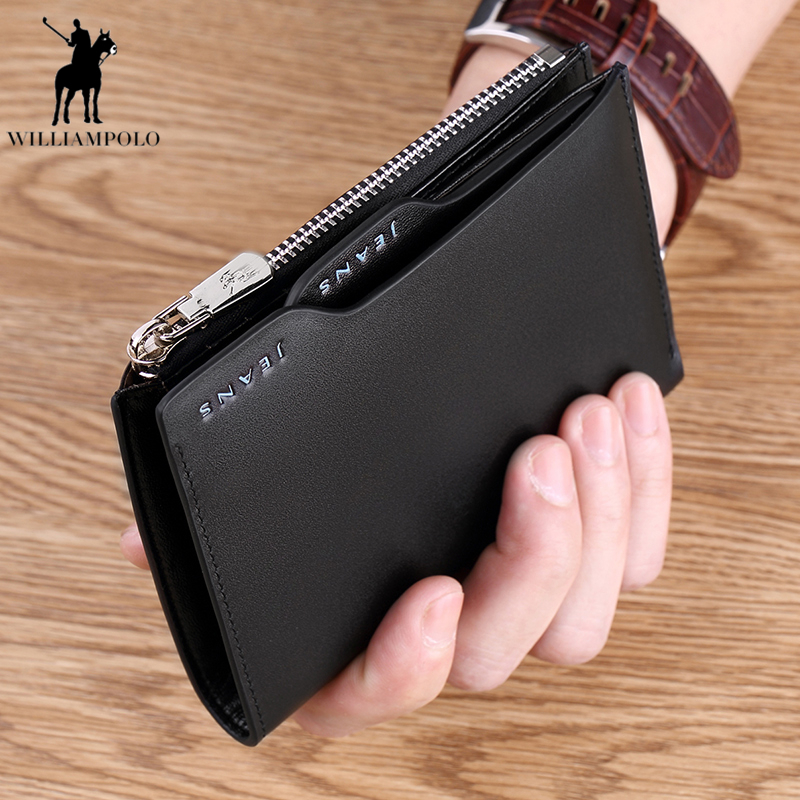 Williampolo New Men Short Wallets Genuine Leather Purse Card Holder Fashion Zipper Male Wallet Coin bag carteira masculina PL146 new wallet brand short men wallets genuine leather male purse card holder wallet fashion man zipper wallet men coin bag pl146