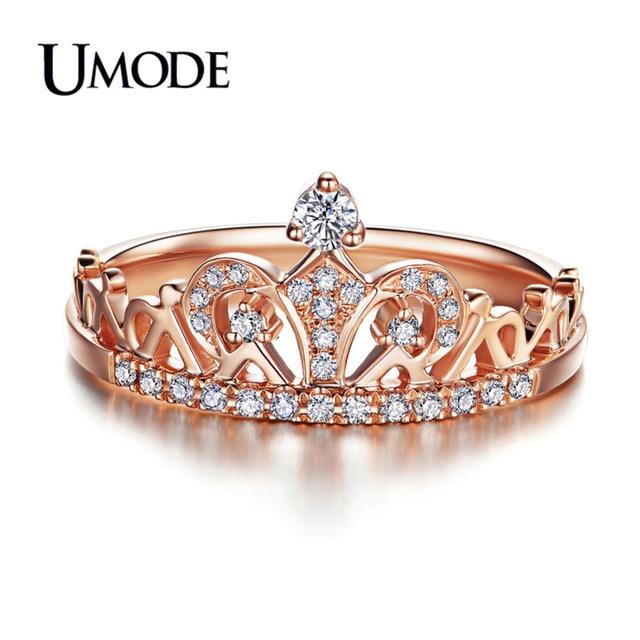 UMODE CZ Cristallo di Modo Corona Anelli Per Le Donne Rosa Color Oro Taglio Roto