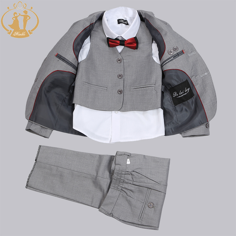ФОТО Nimble Solid Gray Boys Suits For wedding School Formal Set Two Button baby boy clothes Four Pcs Jacket + Vest + Pant + Tie