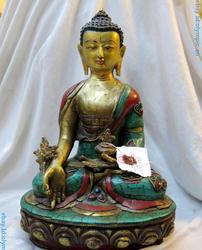 13 Tibet bronzen gild inlay Turquoise Boeddhisme Geneeskunde Boeddha Standbeeld