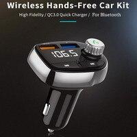 fm משדר רכב Bluetooth FM משדר אלחוטי Hands Free Kit MP3 מוסיקה נגן תמיכה TF כרטיס 5V 2.1a USB מטען FM אפנן # WL1 (5)
