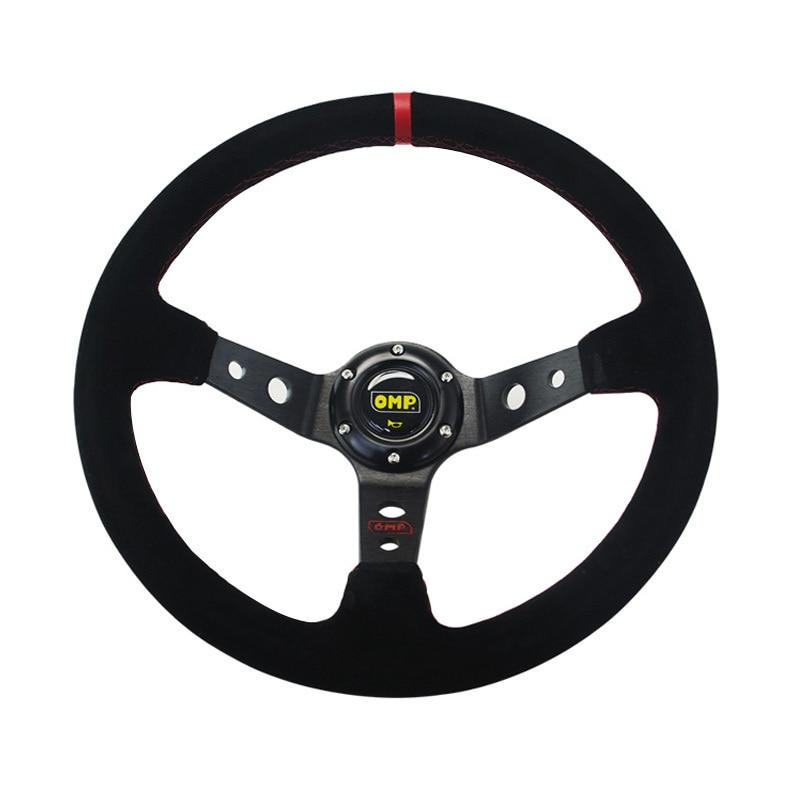 14 inch 350mm Omp Deep Corn Drifting Suede Leather Steering Wheel Universal Car Auto Racing Steering Wheels