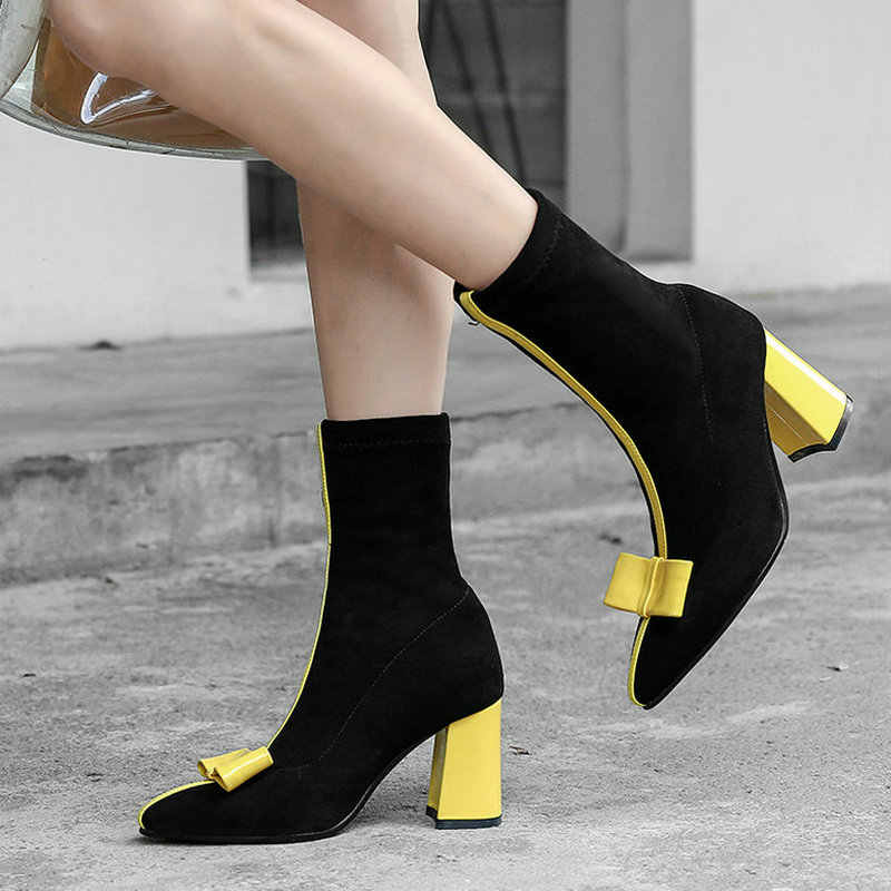 Women Boots Sweet Bow Knot Thick High Heel Ankle Boots Female Fashion Slip On Pointed Toe Autumn Winter Boots Black Pink Yellow