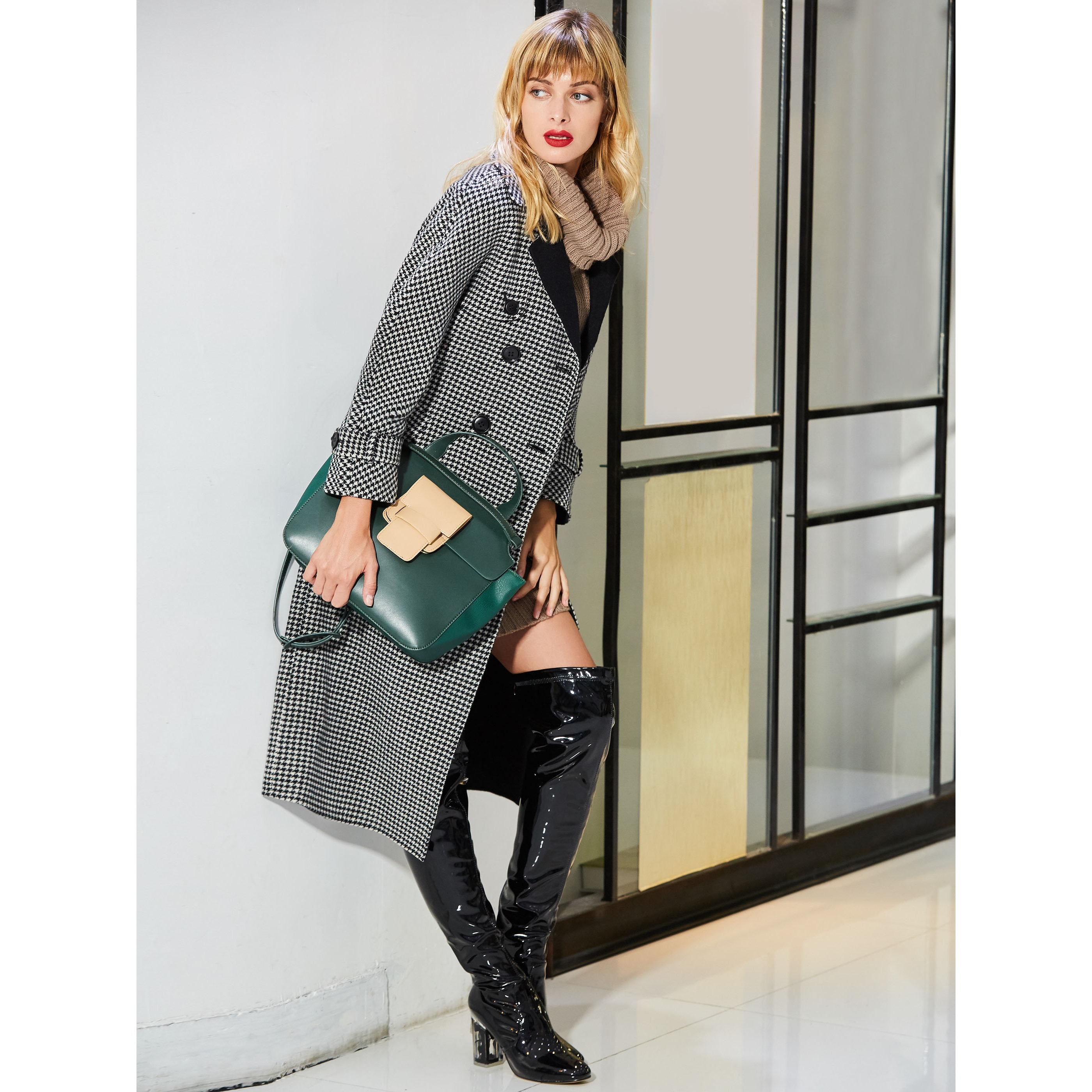 Women High Street Outwear Trench Coat Plus Size Lapel Winter Coat Plaid Checkered Elegant Cashmere Career Office Lady Top Coat