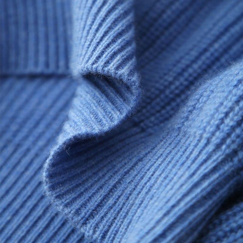 Roulé Felmale Pulls D'hiver Lady Cachemire 100 Pull Épais Élégant Blue Col Côtelé Femmes Tricoté Tricot De Chandail Hauts Ow6XnqA