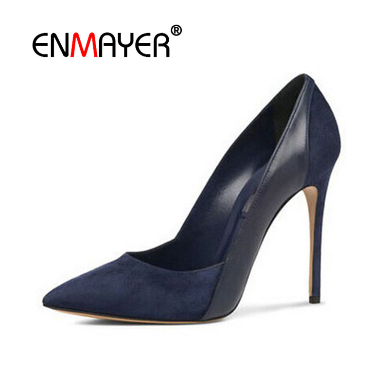 ENMAYER Spring Autumn Women Party Fashion Pumps Shoes Patchwork Pointed Toe Slip-On Thin Heels Large Size 34-43 Black Blue Red блузка