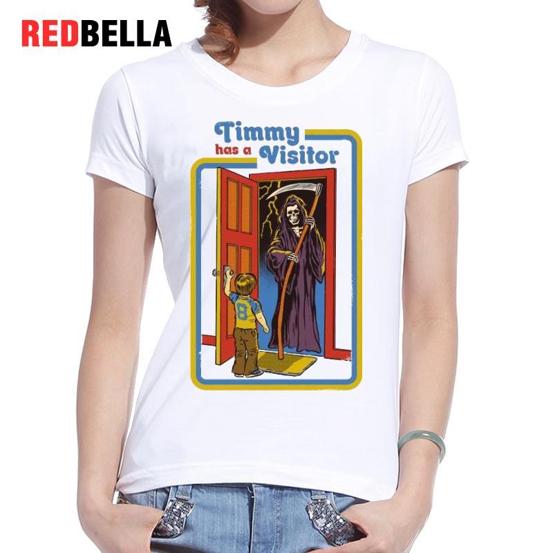 REDBELLA T Shirt font b Women b font 2017 Evil Children Horror Death Vintage Figure Painting