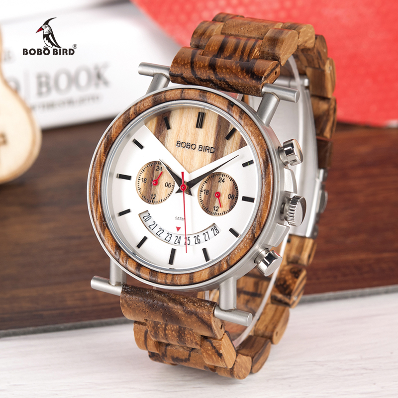BOBO BIRD Wooden Men Watch Stainless Steel Waterproof Wristwatch With Date And Multiple Time Zone Reloj Hombre Men's Gift W-R06