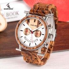 BOBO BIRD деревянные мужские часы из нержавеющей стали водостойкие наручные часы с датой и несколькими часовыми поясами reloj hombre мужские подарок W-R06