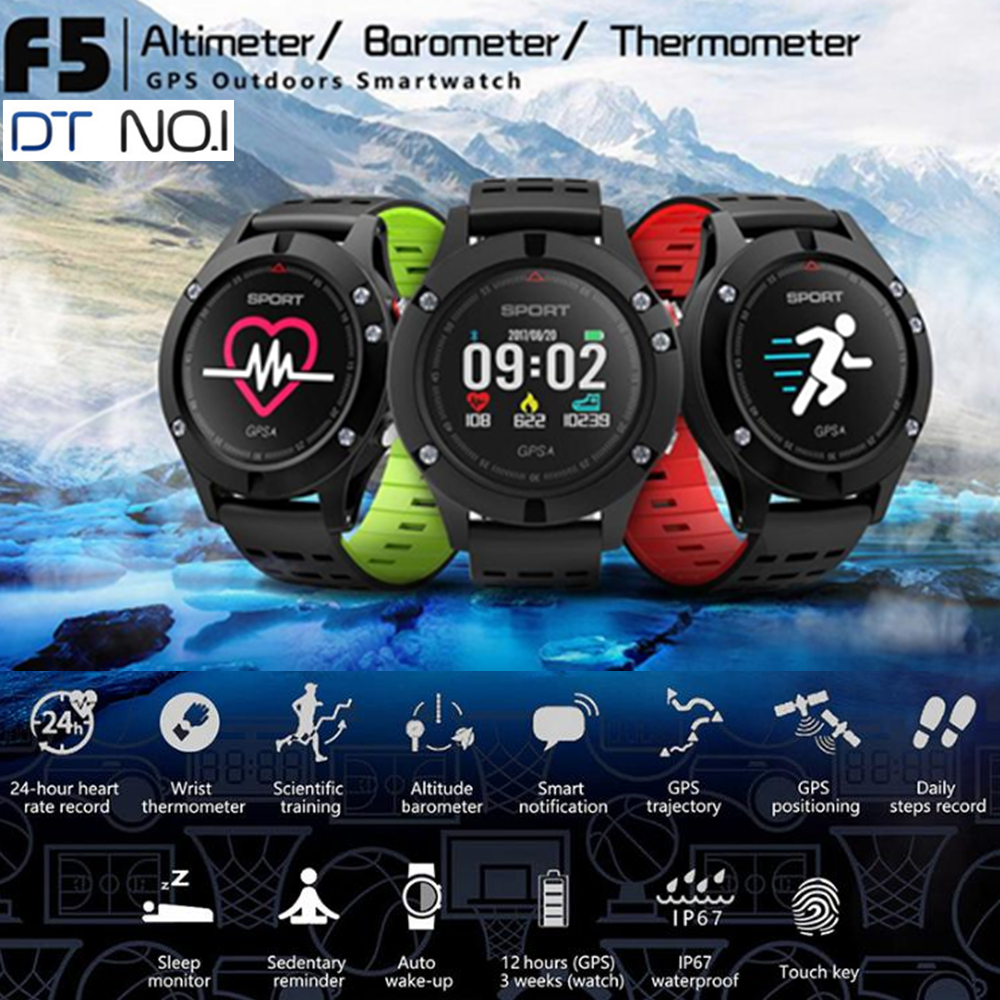 Newest DT <font><b>NO.1</b></font> <font><b>F5</b></font> Heart Rate Monitor Bluetooth Smart Watch GPS Heart Rate Monitor Smart Wristband for Android 4.4 / iOS 9.0 Siri image