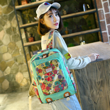 2019 Original Backpack National Style Waterproof Canvas Shoulder Bag Female Printing Stitching Student