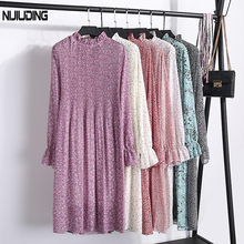New Fashion Spring Autumn Chiffon Dresses Women's Print Dress Casual floral Dress With Belt Long Sleeve Thick Dress 19 Colors